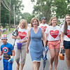 140703 JOED VIERA/STAFF PHOTOGRAPHER-Lockport, NY- Lockport Mayor Anne McCaffrey walks with supporters wearing Love Lockport Shirts in the  Independance Day Parade on July 3, 2014.