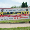 140423 JOED VIERA/STAFF PHOTOGRAPHER-Lockport, NY- A banner for Community Day outside of the Lockport Fire Department on Wednesday July 23rd.