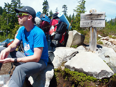 """Last stop before starting the """"Railroad Grade"""" - a steep climb along a beautiful ridge with a steep rocky slope on one side and green wildflowers on the other."""