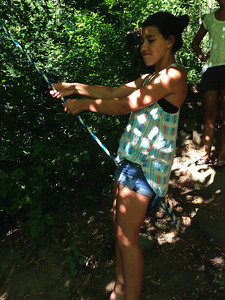 Carsyn takes a trip on the rope swing