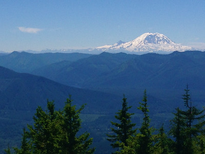 Fuzzy view of Mt Rainier from top of Mt. Si