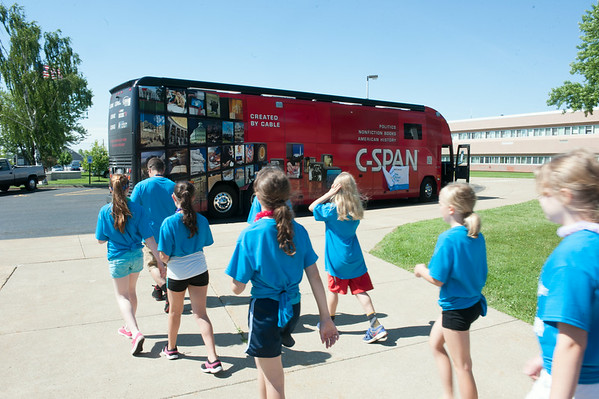140619 JOED VIERA/STAFF PHOTOGRAPHER-Pendleton, NY-Students walk by the  C-SPAN bus at Starpoint Central School. June 19, 2014