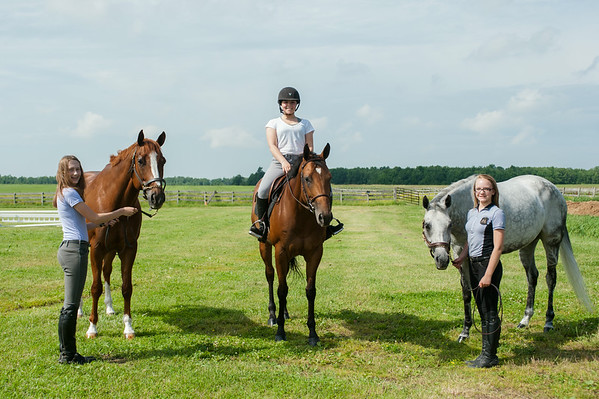 140618 JOED VIERA/STAFF PHOTOGRAPHER-Middleport, NY-Alissa Zwelling, Ally Miles and Madeline Keys with thier horses . June 18, 2014