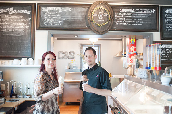 140603 Cream and Sugar JOED VIERA/STAFF PHOTOGRAPHER-Lockport, NY-Cream And Sugar owners Jessica and Jason Dittly hold up ice cream cones. June 3, 2014.