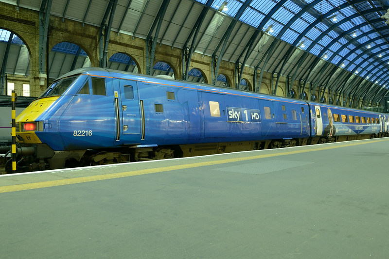 30 June 2014 :: DVT 82216 in Sky1HD livery waits near the buffers at Kings Cross