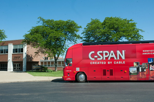 140619 JOED VIERA/STAFF PHOTOGRAPHER-Pendleton, NY-The C-SPAN bus parks at Starpoint Central School. June 19, 2014