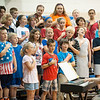 140611 Time Capsule JOED VIERA/STAFF PHOTOGRAPHER-Ransomville, NY-A chorus of students sing the pledge of allegiance at W.H. Stevenson June 11, 2014