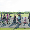140609 Bike safety JOED VIERA/STAFF PHOTOGRAPHER-Lockport, NY- Kids line up with their parents to ride along an obstacle course during a bike safety event at Day Road Park. June 9, 2014