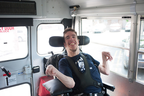 140613 JOED VIERA/STAFF PHOTOGRAPHER-Buffalo, NY- Andrew Cooper sits on the bus to the Center for Assistive Technology.
