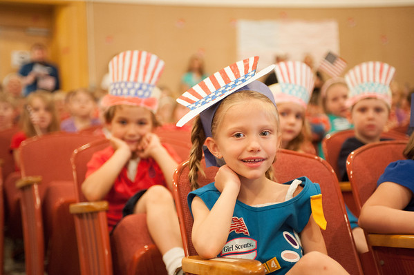 140613 Royhart JOED VIERA/STAFF PHOTOGRAPHER-Gasport, NY- Roylton Hartland KindergartnerIsabella Stoeckwald (5) wears a flag hat during a school assembly. June 13, 2014