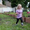 140614 Garden JOED VIERA/STAFF PHOTOGRAPHER-Lockport, NY-Autumn Chase 3 runs around the new community garden on the corner of Ontario St. and Hawley St. June 14, 2014