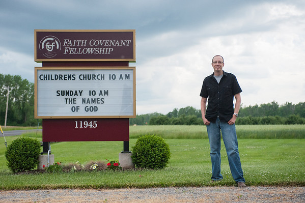 140611 New Pastor JOED VIERA/STAFF PHOTOGRAPHER-Medina, NY- New Pastor Chad Wirth stands outside of his church The Faith Covenant Fellowship on June 11, 2014