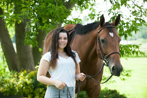 140618 JOED VIERA/STAFF PHOTOGRAPHER-Middleport, NY-Ally Miles stands with her horse Abbie. June 18, 2014