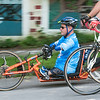 140630 JOED VIERA/STAFF PHOTOGRAPHER-Lockport, NY-Journey along the Erie Canal rider and congenital amputee John Robinson cycles down the Market Street hill on June 30, 2014.