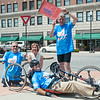140630 JOED VIERA/STAFF PHOTOGRAPHER-Lockport, NY-Journey along the Erie Canal participants take a break from their ride on the corner of Market Street and Main Street (Front) Doug Hamlin (Back) John Robinson, Mayor Anne McCaffrey, Brian Stratton Director of the State Canal Corporation on June 30, 2014.