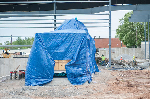 140604 Rink JOED VIERA/STAFF PHOTOGRAPHER-Lockport, NY-The cooling unit for the rink is covered with a tarp as construction continues on the Lockport Ice Arena. June 4, 2014.