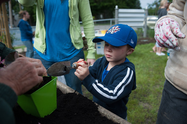 140614 Garden JOED VIERA/STAFF PHOTOGRAPHER-Lockport, NY-Hudson Campbell 4 shovels dirt into a pot of flowers at the new community garden on the corner of Ontario St. and Hawley St. June 14, 2014