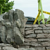 140618 JOED VIERA/STAFF PHOTOGRAPHER-Olcott, NY-Barricades and police tape block access to a brick wall that was damaged by a truck. June 18, 2014