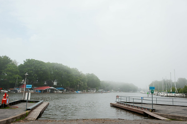 140611 Docks JOED VIERA/STAFF PHOTOGRAPHER-Wilson, NY-Wilson-Tuscarora Park's boat drop is empty on a foggy Wednesday  June 11, 2014