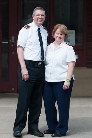 140613 Wheeler JOED VIERA/STAFF PHOTOGRAPHER-Lockport, NY- Major John and Martha Wheeler stand outside of the Salvation Army. June 13, 2014
