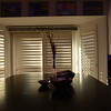 New plantation shutters covering all windows.  I hung two panels on a sliding track for easy access to the existing sliding glass door.