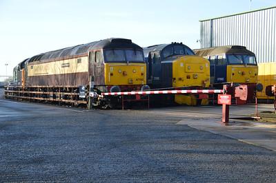 47790 37405 57002 line up at Crewe Gresty Bridge .