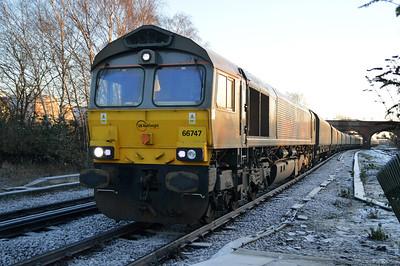 66747 0855/4n47 Drax-Tyne Dock passes Knottingley.