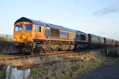 66759 1432/4D79 Eggborough-Doncaster Decoy passes Womersley Road Crossing.