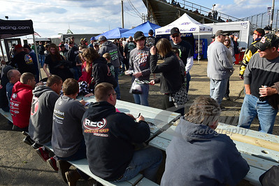 Drivers sign autographs @ LaSalle Speedway