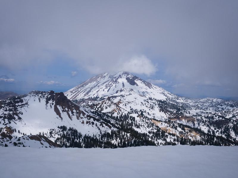 Lassen Peak through the clouds