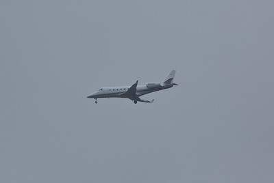 Gulfstream 150 N96AD arriving at Stansted on 29th January 2014 in poor weather
