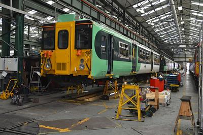 455810 seen inside Selhurst Depot.