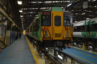 455831 seen inside Selhurst Depot.