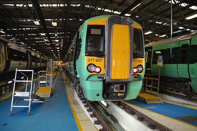 377607 seen inside Selhurst Depot.