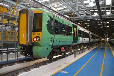 377626 seen inside Selhurst Depot.