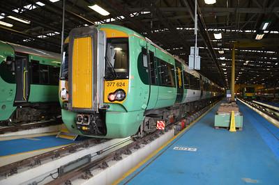 377624 seen inside Selhurst Depot.