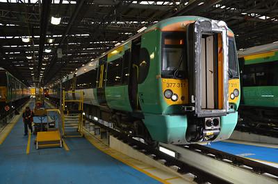377311 seen inside Selhurst Depot.
