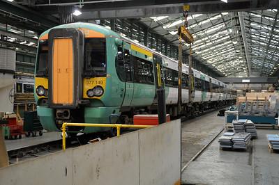 377149 seen inside Selhurst Depot.