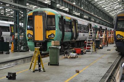 377474 seen inside Selhurst Depot.