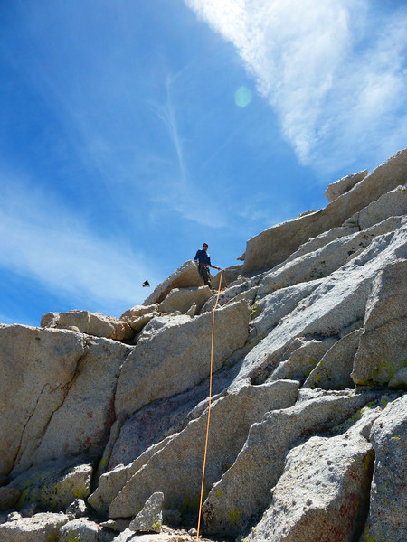 Ryan at the top of the headwall and on summit of Lone Pine Peak