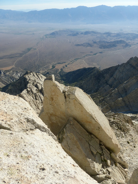 Looking down at the granite blades