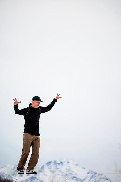 Josh Beaudoin walks a longline somewhere in the neighborhood of 270-ish feet.