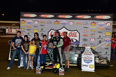 Harriett Chancellor and family in Victory Lane with Scott Bloomquist for the 1st Cowboy Classic