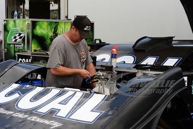 John Blankenship crew member works on the car
