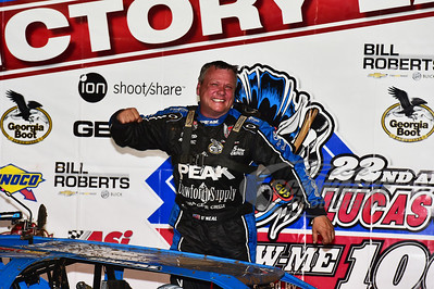 "Don O'Neal in Victory Lane for the ""Show-Me 100"" @ Lucas Oil Speedway"