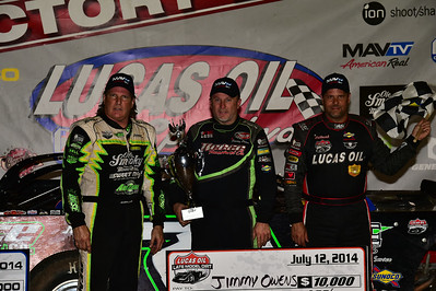 Jimmy Owens in Victory Lane with Scott Bloomquist and Earl Pearson, Jr.