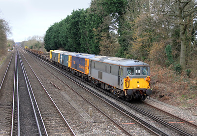 73107 Old Basing 07/03/14 6Y63 Eastleigh to Hoo Junction with 73136, 73207 and 73201