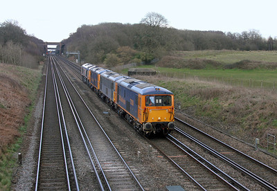 73136 Potbridge 01/03/14 0Y19 Hoo Junction to Eastleigh with 73107, 73141 and 66730