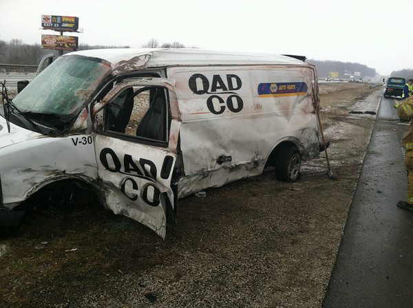 The 2007 Chevrolet van driven by 55-year-old Scott A. Dixon of Terre Haute, who was eastbound on I-70 early this morning before he lost control of the vehicle, apparently from ice on the bridge. (Submitted photo)