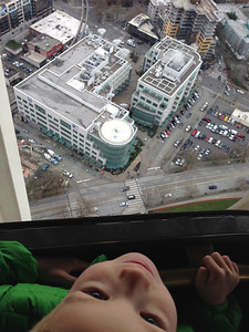 Riding to the top of the Space Needle for Connor's 5th birthday.